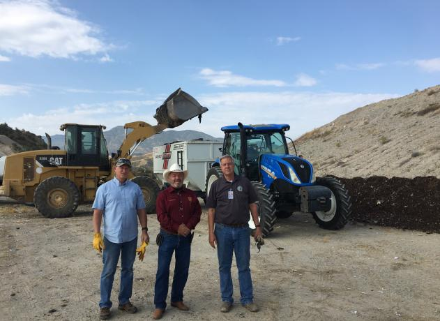 Gila County Landfill Compost Pilot: Dave Smith, Tim Humphrey and Kenny Keith. Photo credit: Paul Wolterbeek