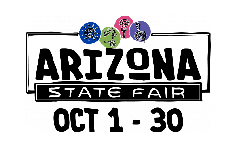 The logo for the AZ State Fair shows stylized icons of sun, livestock, food, and music