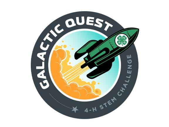The logo for the 2021 4-H STEM Challenge: Galactic Quest which shows a clover-decorated cartoon rocket blasting off