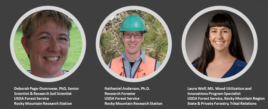 Dr Deborah Page-Dumroese, Dr Nathaniel Anderson, and Laura Wolf, MS, USDA Forest Service